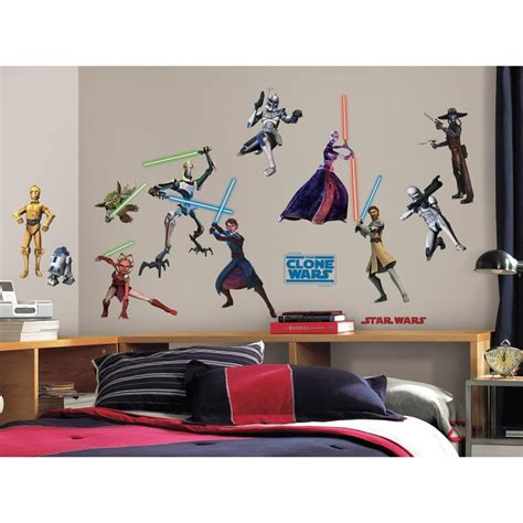 roommates rmk1382scs wars the clone wars glow in the wall decals pack of