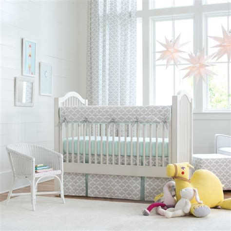 gray and mint quatrefoil crib bedding carousel designs