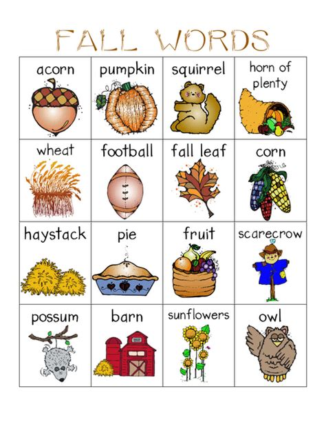 Free Fall Words With Pictures Flash Card Printables  Halloween  Pinterest  Fall Words