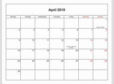 April 2018 Calendar With Holidays 2018 yearly calendar