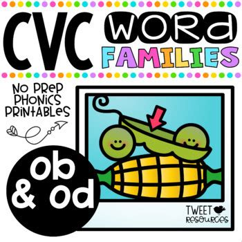 Cvc Word Family 'ob' And 'od' No Prep Phonics Printables By Tweet Resources
