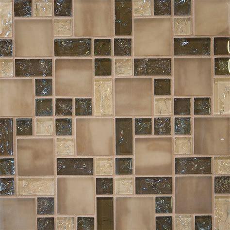 Sample Brown Crackle Glass Mosaic Tile Kitchen Backsplash