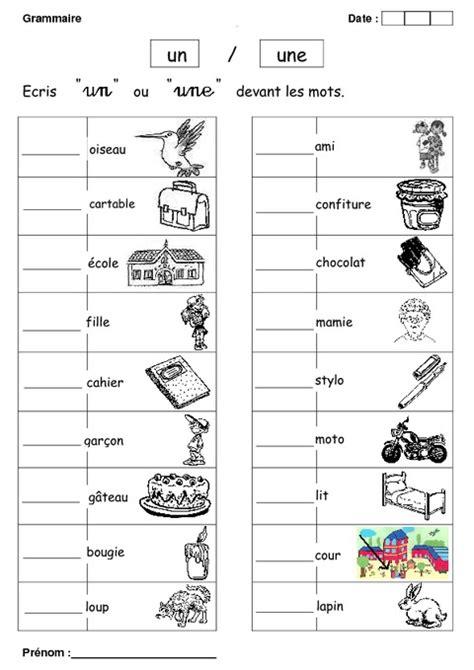 un ou une cp exercices grammaire cycle 2 pass education