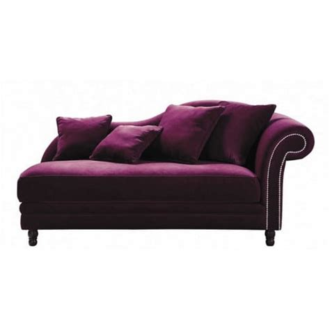 velvet chaise longue in aubergine scala maisons du monde