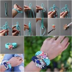 Wonderful Diy Jeweled Embellished Macrame Bracelet