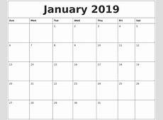 January 2019 Calendar Template calendar for 2019