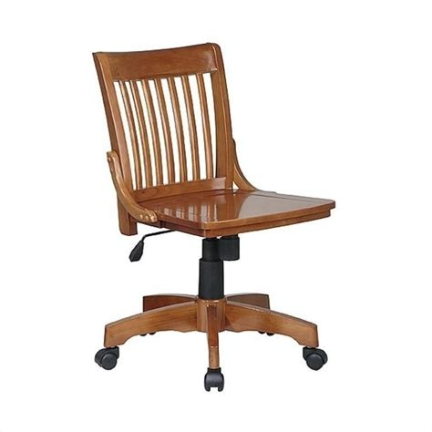 armless wood bankers office chair with wood seat in medium fruitwood 101fw