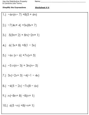 15 Best Images Of Distributive Property Worksheets Grade 7  Easy Distributive Property