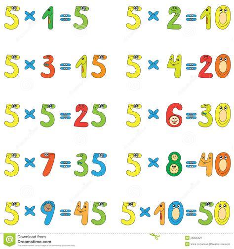 table de multiplication de 5 photographie stock libre de droits image 25805527