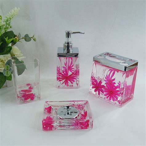 pink bathroom accessories pink floral acrylic bath accessory sets h4006 wholesale