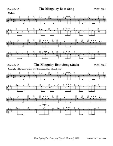 Mingulay Boat Song Sheet Music by Mingulay Boat Song W 2nds Cold Spring Pipes Drums