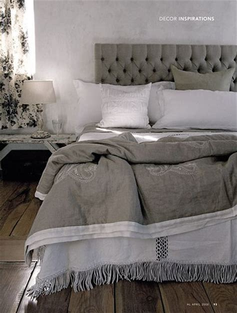 white bedding grey headboard bedroom inspiration