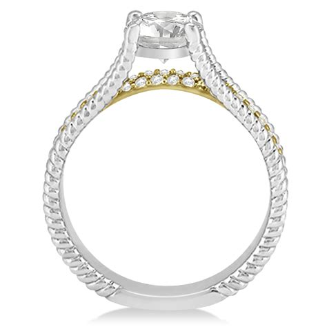 Diamond Split Shank Rope Engagement Ring 14k Two Tone Gold. Women's Black Engagement Rings. Multicoloured Rings. Three Rings. Setting Rings. Halo 5 Rings. .80 Engagement Rings. Simple Matching Wedding Rings. Non Traditional Rings