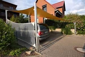 Carport Mit Plane : carport mit sonnensegel aus precontraint tuch und pfosten aus ~ Markanthonyermac.com Haus und Dekorationen