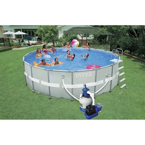 piscine hors sol autoportante tubulaire ultra frame intex ronde diam 5 49 m leroy merlin