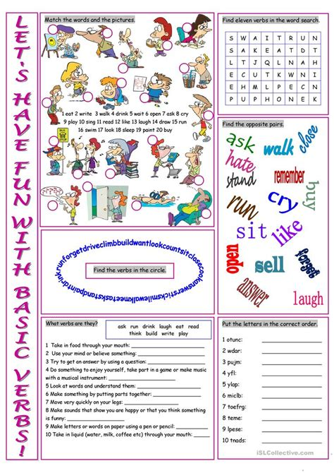 Basic Verbs Vocabulary Exercises Worksheet  Free Esl Printable Worksheets Made By Teachers