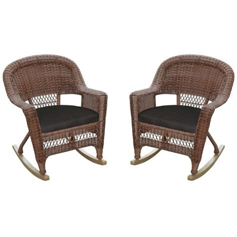 jeco wicker rocker chair in honey with black cushion set