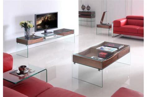 meuble t 233 l 233 glasgow en verre et bois meuble tv pas cher