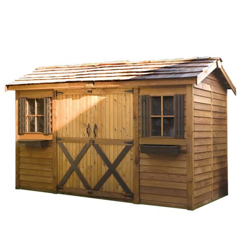 6 x 8 foot wooden shed shop cedarshed longhouse gable cedar storage shed common