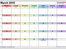 March 2018 Calendar PDF free calendar 2018