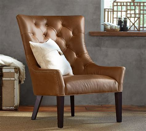 tufted leather armchair pottery barn