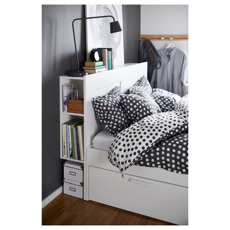ikea king size storage headboard brimnes bed frame w storage and headboard white leirsund