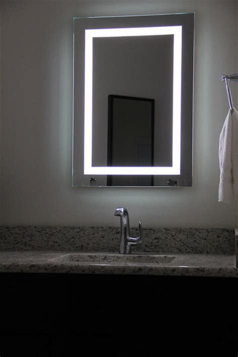 Lighted Bathroom Mirrors Wall by Lighted Image Led Bordered Illuminated Mirror Large