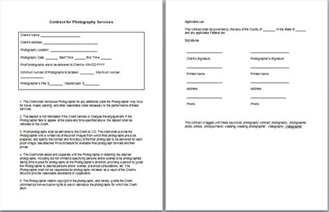 Wedding Contract Photography Template