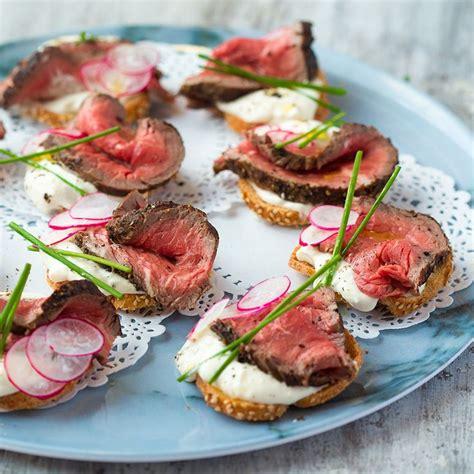beef and horseradish crostini food and snacks