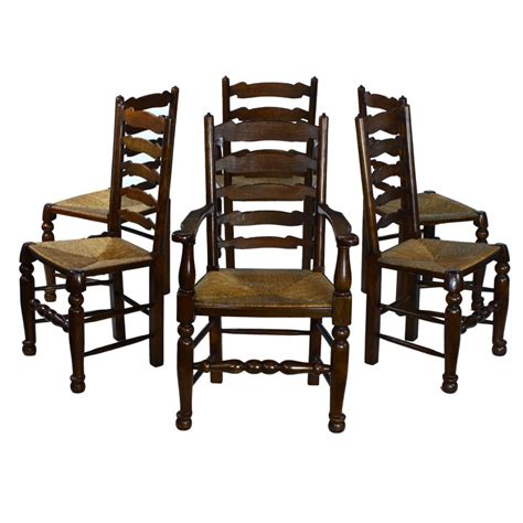 traditional solid oak ladder back seat set 6