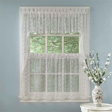 white priscilla lace kitchen curtains tiers tailored valance or swag ebay