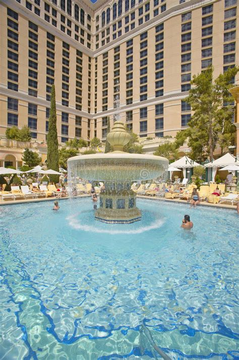 Large Swimming Pool With Swimmers At Bellagio Casino In