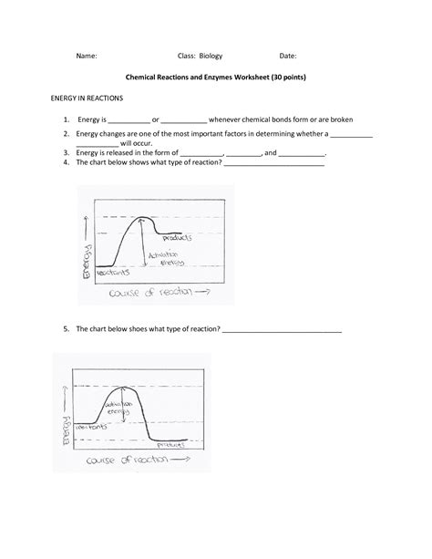 20 Best Images Of Enzymes And Chemical Reactions Worksheet  Chemical Reactions And Enzymes