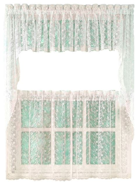 priscilla lace white kitchen curtain 24 quot tier traditional valances by linens4less