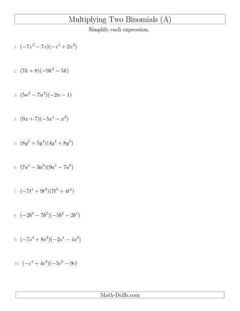 11 Best Images Of Multiplying Binomials Worksheet  Polynomials Multiplying Binomials Worksheet