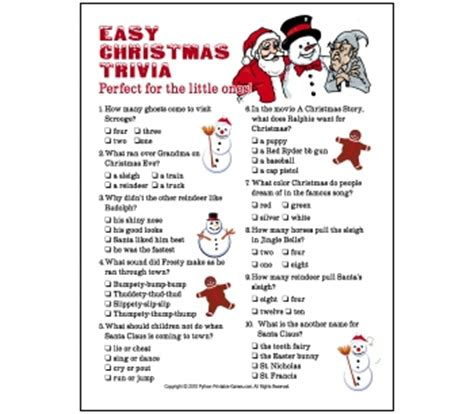 Printable Christmas Quiz  Happy Holidays