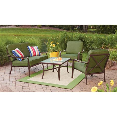mainstays crossman 4 patio conversation set green seats 4 walmart