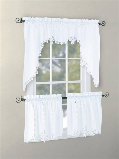 vintage battenburg kitchen curtain valance swag tier white ecru color handcraft ebay