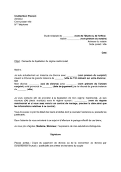 exemple gratuit de lettre demande rendez vous 224 notaire liquidation r 233 gime matrimonial