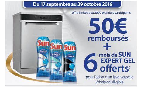 bon plan whirlpool offre 50 et 6 mois de lessive sun sur ses lave vaisselle electroconseil