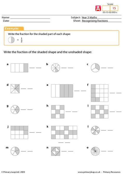 Fraction Worksheets For Year 3  Fraction Free Printable Worksheets Worksheetfunordering