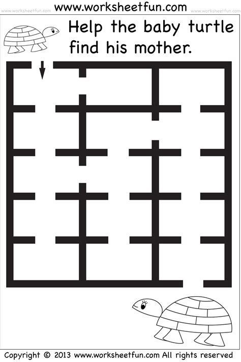 Beginner Mazes  Preschool And Kindergarten  6 Worksheets  Free Printable Worksheets