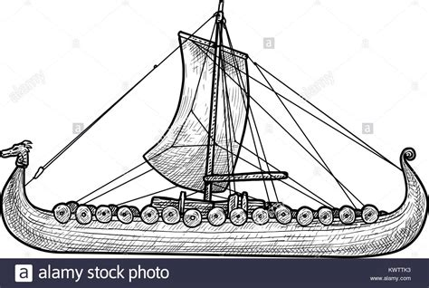 Medieval Boat Drawing by Illustration Medieval Viking Ship Longboat Stock Photos