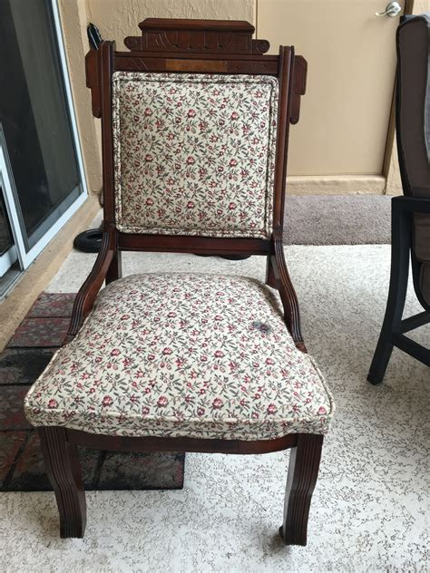 flower pattern two wheeled wooden chair my antique