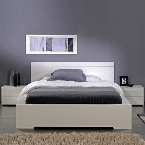 ensemble lit environnement lumineux 160 x 200 avec 2 chevets int 233 gr 233 s laqu 233 blanc