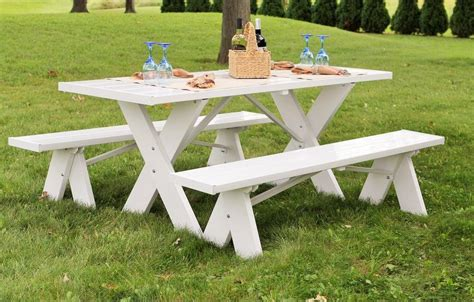 Duratrel White Plastic Picnic Table With Detached Benches