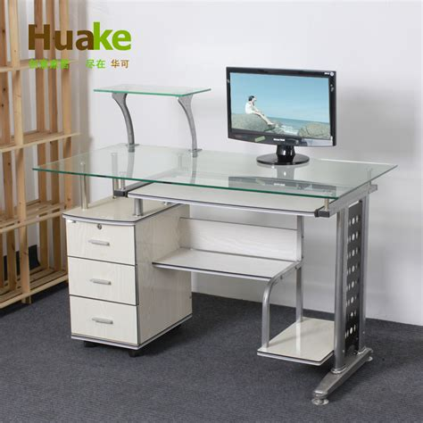 small 120 60 high 74cm wide white tempered glass computer table desk with three drawers