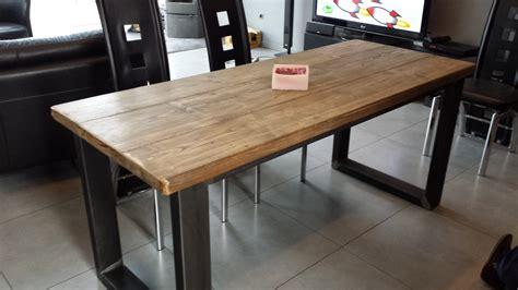 table de salle 224 manger acier et bois vieilli meubles et rangements par m decoindustriel