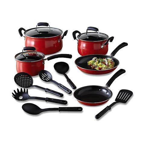 essential home 14 cookware set kitchen nonstick pots and pans cookware