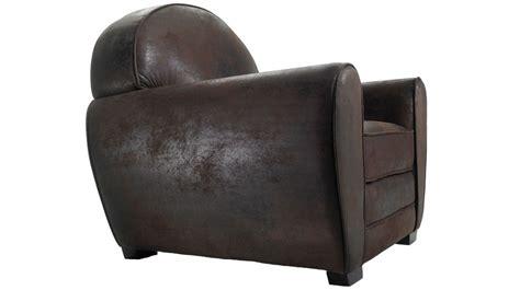 fauteuil club vintage en microfibre aspect cuir vieilli fauteuil pas cher
